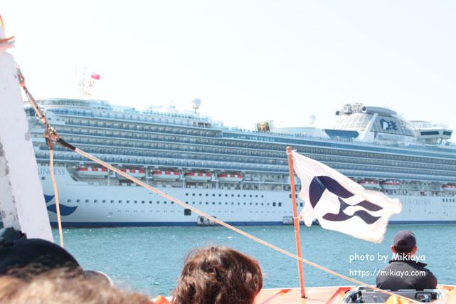 小型船からプリンセスクルーズを見た画像